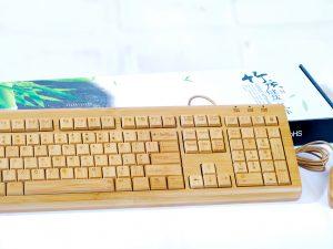 USB Klaviatūra un datorpele no bambusa