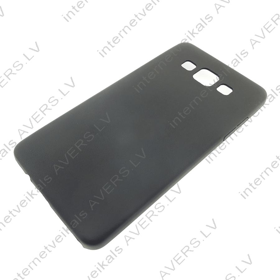 Samsung A5 A500 ādas imitācijas plastikāta aizsārgvāks (melns)